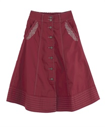 Front button embroidered middle skirt(Red-Free)