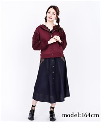 Front button embroidered middle skirt(Indigo-Free)