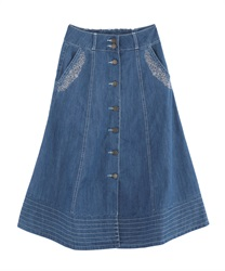 Front button embroidered middle skirt(Wash-Free)