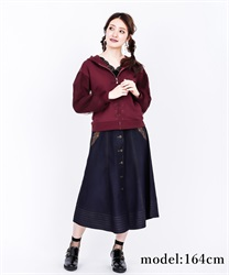 Front button embroidered middle skirt