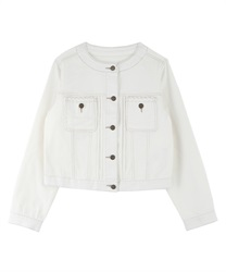 Braid no collar denim jacket(White-M)