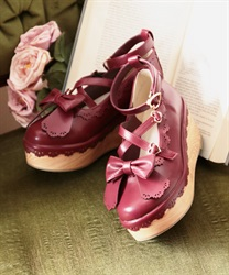 Scallop wood shoes(Wine-S)