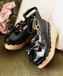 Scallop wood shoes(Black-S)