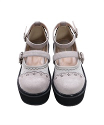 【Global Price】Dot tulle thick-soled shoes(Grey-S)
