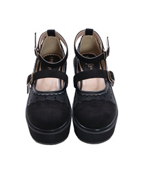 【Global Price】Dot tulle thick-soled shoes(Black-S)