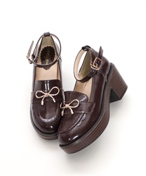 【Global Price】Ribbon Loafer Pumps(Brown-S)