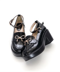 【Global Price】Ribbon Loafer Pumps(Black-S)