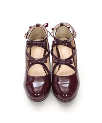 Lace-up Enamel Pumps(Wine-S)