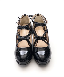 Lace-up Enamel Pumps(Black-S)