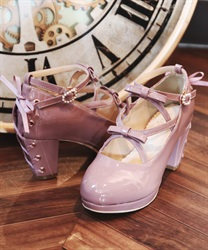 Lace-up enamel pumps(Pale pink-S)