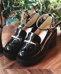 Pearl loafer pumps(Black-S)