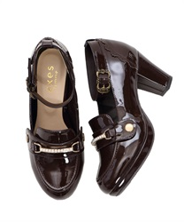 "Loafer Pumps with ""2 Detachable Decoration""(Brown-S)"