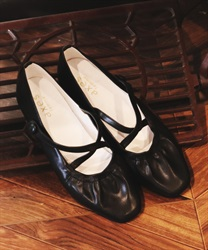 Cross gather ballet shoes(Black-S)