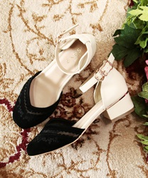 Embroidery separate color pumps(Black-S)