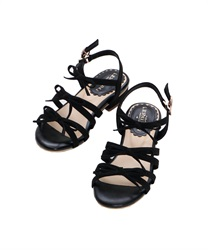 Low Heel Ribbon Sandals(Black-S)
