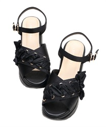 Lace up sports sandals(Black-S)