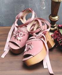 Rose embroidery wood sandal(DarkPink-S)