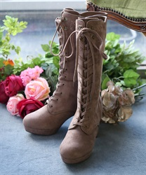 【Global Price】Embroidery lace-up boot(Beige-S)