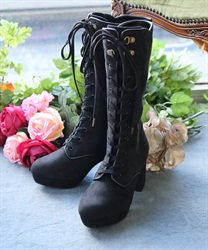 【Global Price】Embroidery lace-up boot(Black-S)