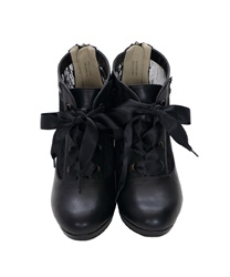 Lace-up boots(Black-S)