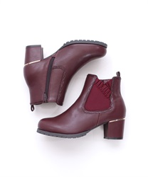 Frilled Rubber Side Gore Boots(Wine-S)