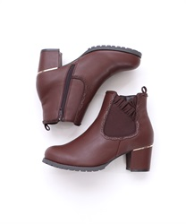 Frilled Rubber Side Gore Boots(Brown-S)