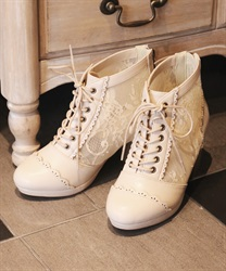 Tulle lace-up boot(Beige-S)