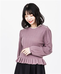 【2Buy10%OFF】Openwork Knit Pullover(Purple-Free)