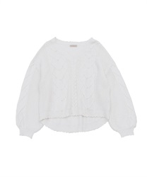 Heart cable knit pullover(Ecru-Free)