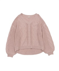 Heart cable knit pullover(Pale pink-Free)
