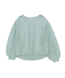 Heart cable knit pullover(Green-Free)