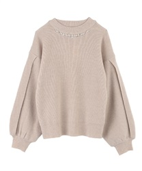 Slit Sleeve Loose Knit(Beige-Free)