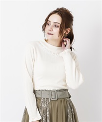 Rose bottle neck rib pullover(Ecru-Free)