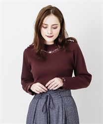 Rose bottle neck rib pullover(Wine-Free)