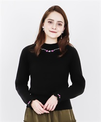 Rose bottle neck rib pullover(Black-Free)