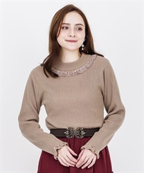 Rose bottle neck rib pullover(Mocha-Free)