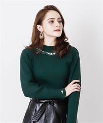 Rose bottle neck rib pullover(Dark green-Free)