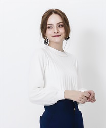Tulle sleeve pleated knit(White-Free)