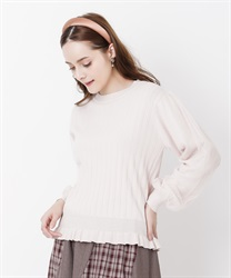 Tulle sleeve pleated knit(Pale pink-Free)