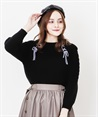 W lace-up off total knit(Black-Free)