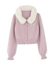 Knit cardigan with fur tippet(Pale pink-Free)