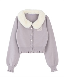 Knit cardigan with fur tippet(Grey-Free)