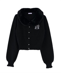 Knit cardigan with fur tippet(Black-Free)