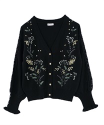 Mimosa embroidery knit cardigan(Black-Free)