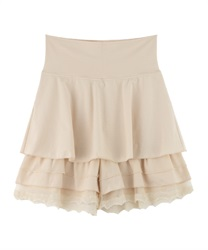 【axes femme yoga】Quick Dry Jersey Frill Layered Culottes(Ecru-Free)