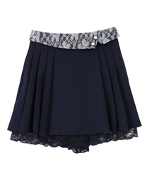 Folded Design Culottes(Navy-Free)