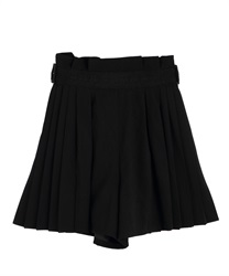 【10%OFF】Side pleated culottes(Black-Free)