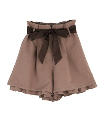 Flare culottes with tucks(Mocha-Free)