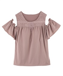 【axes femme yoga】Quick Dry Jersey Off Shoulder Tops(Pale pink-Free)