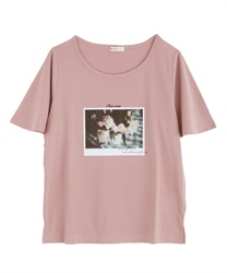 Flower Photo T-Shirt(Pale pink-Free)
